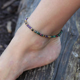 Ruby in Zoisite and Amethyst Delicate Anklet