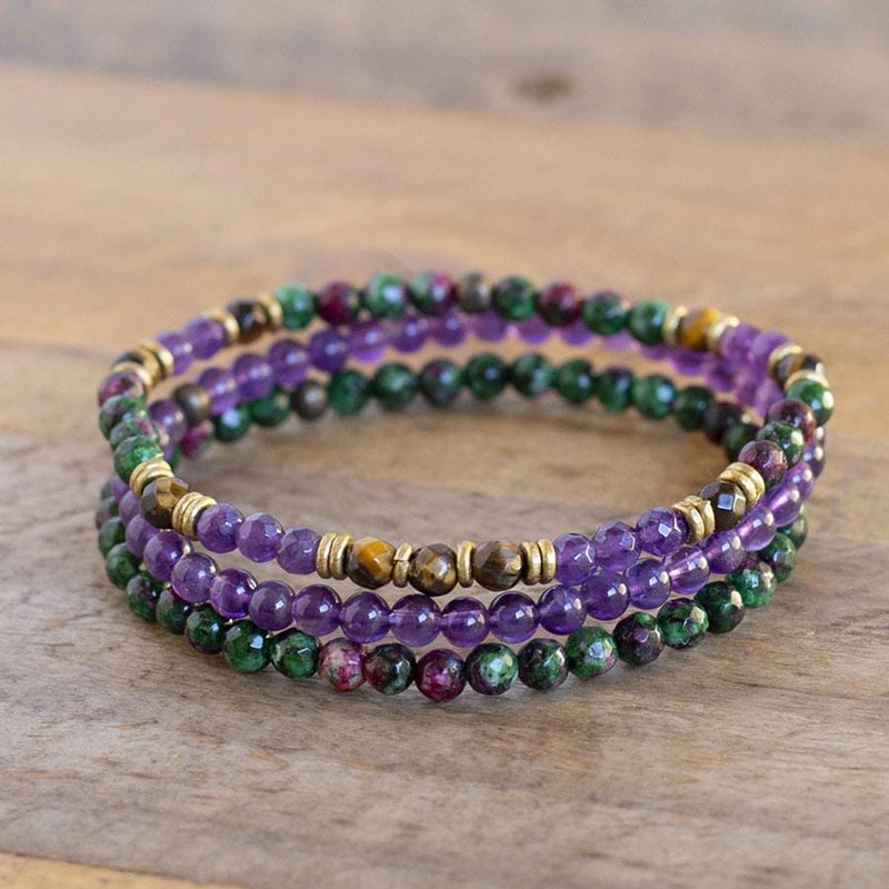 Ruby in Zoisite and Amethyst Delicate Bracelet Set
