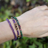 Ruby in Zoisite and Amethyst Delicate Bracelet Stack