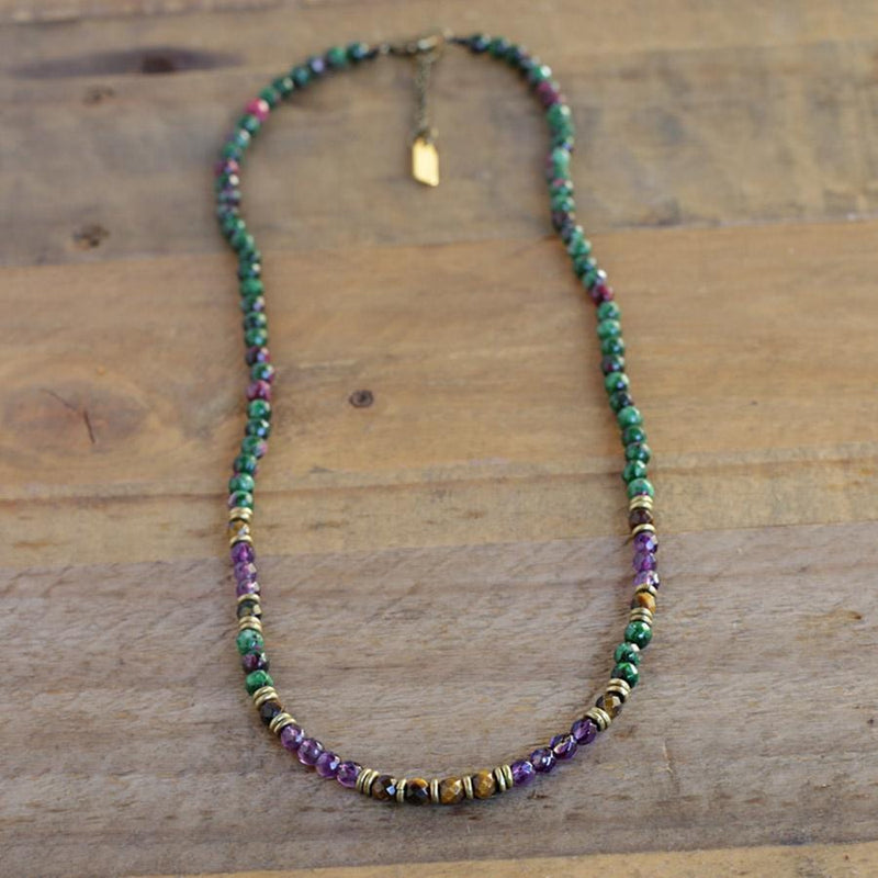 Ruby in Zoisite and Amethyst Delicate Necklace