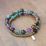 Ruby in Zoisite and Amethyst Yoga Mala Bracelet