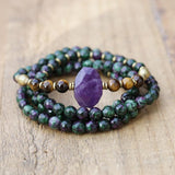 """Energy"" Ruby in Zoisite and Amethyst 108 Bead Mala Bracelet"