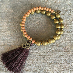 Hematite and sandalwood wrist mala bracelet