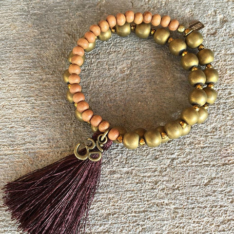 Matte Hematite and Sandalwood, 'Grounding and Healing', 27 bead wrist mala wrap bracelet