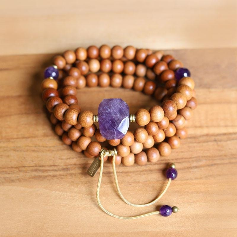 Sandalwood and Amethyst Mala Necklace
