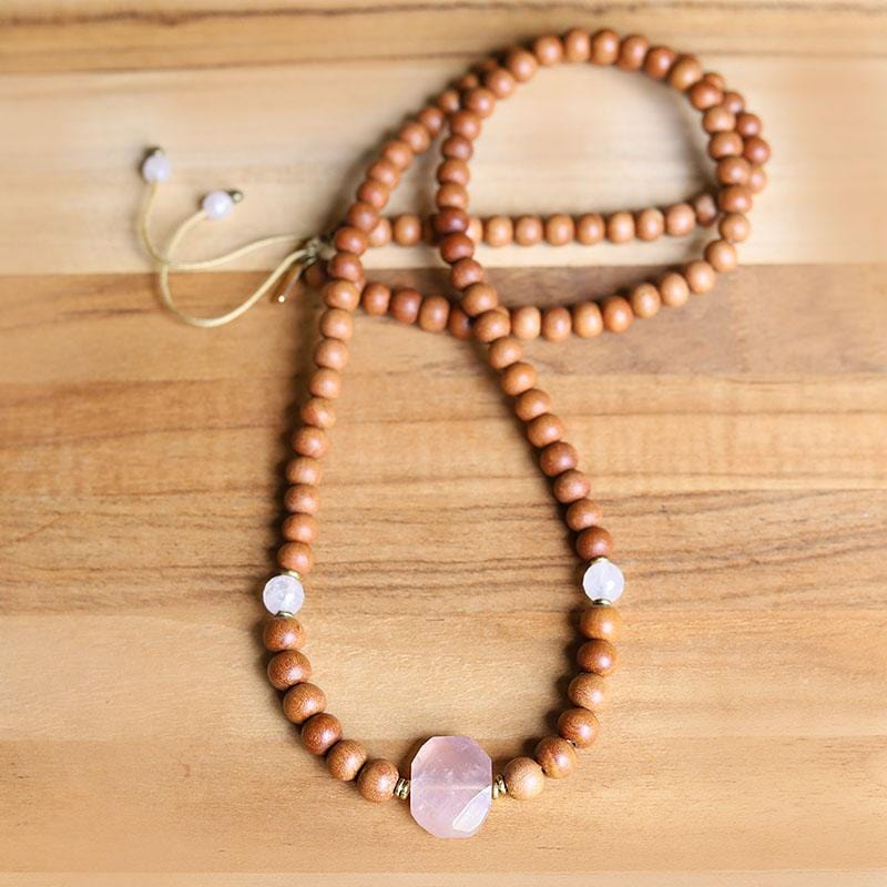 Sandalwood and Rose Quartz Mala Necklace
