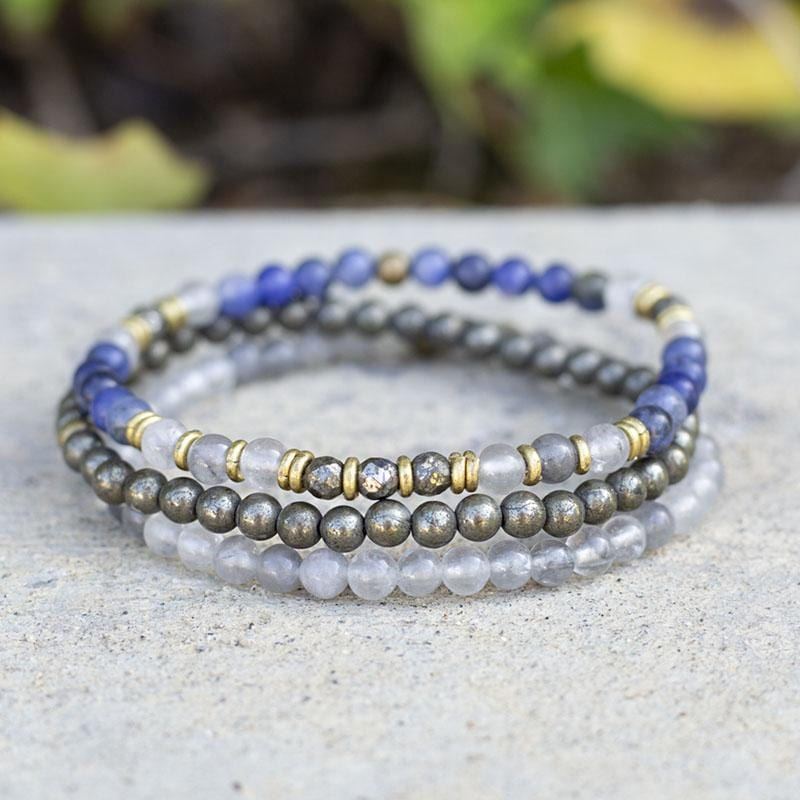 Sodalite Quartz Crystal and Pyrite Delicate Bracelet Set