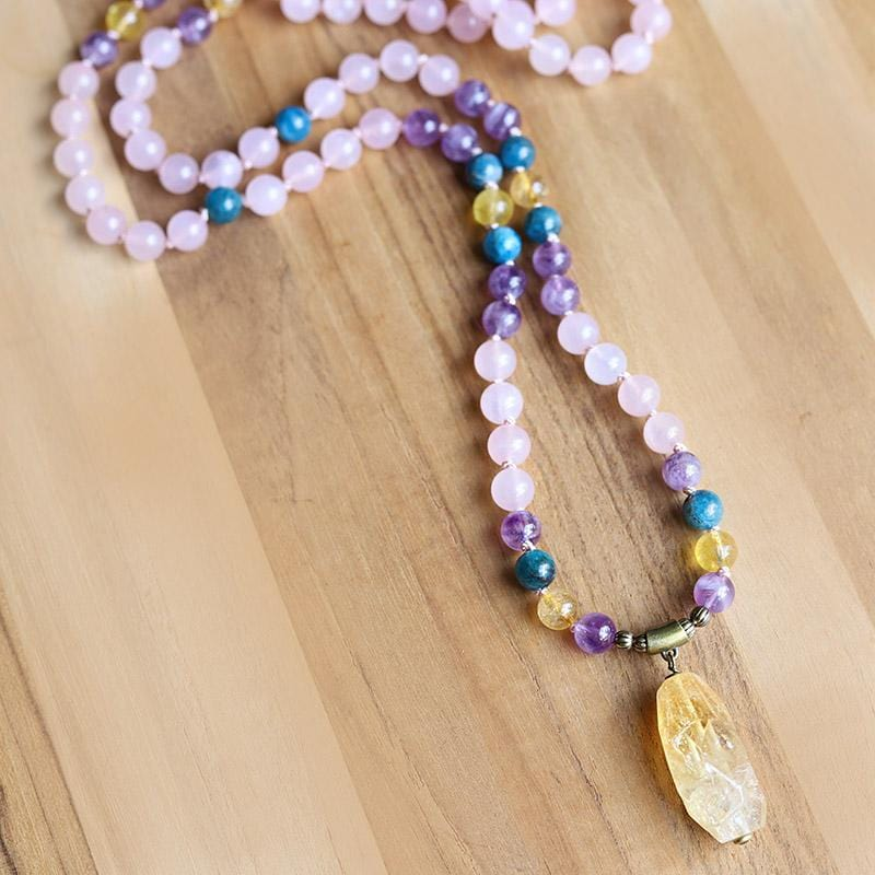 """Summer Healing"" Rose Quartz Amethyst and Apatite Hand Knotted Mala Necklace"