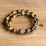 tigers eye mala bracelet with red center bead
