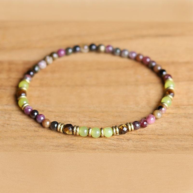 Tourmaline and Delicate Jade Bracelet