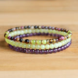 Tourmaline and Jade Delicate Bracelet Stack