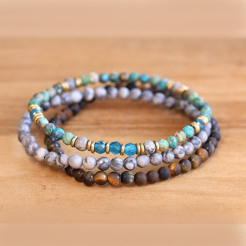 """Self Realization"" Turquoise and Jasper Delicate Bracelet Set"