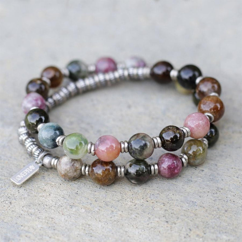 """Protection"" Watermelon Tourmaline 27 Bead Wrist Mala Bracelet"