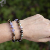 """Protection and Calm"" Watermelon Tourmaline and Lepidolite 27 Bead Mala Bracelet"