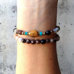 Brown stripped agate, turquoise, and Tiger's eye 54 bead wrap bracelet