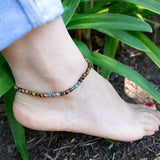 "Anklets - ""Abundance And Joy"" Tiger's Eye And Agate Delicate Gemstone Anklet"