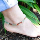 Anklets - Aventurine And Carnelian Anklet