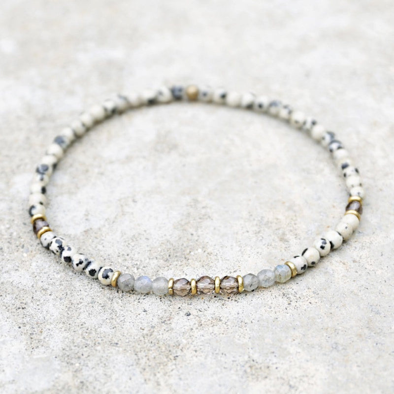 "Anklets - ""Balance And Good Luck"" Dalmatian Jasper And Labradorite Anklet"