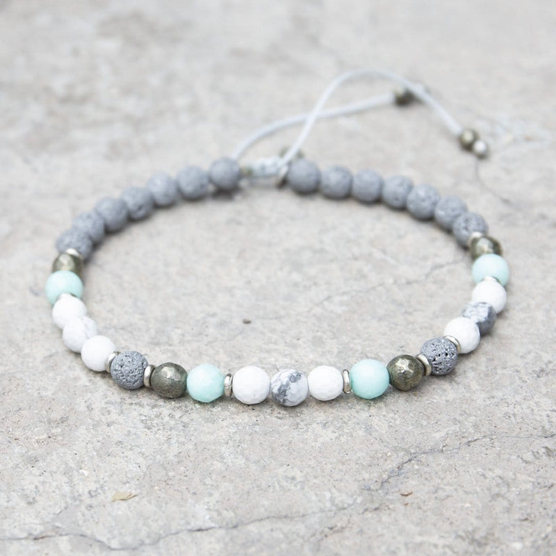 "Anklets - ""Calm"" Howlite And Lava Adjustable Anklet"