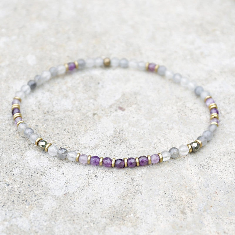 "Anklets - ""Emotional Healing"" Cloudy Quartz And Amethyst Delicate Anklet"