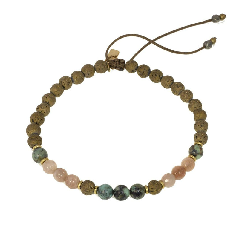 "Anklets - ""Joy And Change"" Sunstone And African Turquoise Adjustable Anklet"