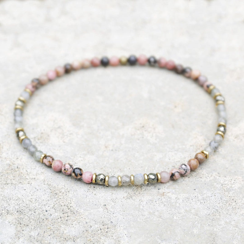 "Anklets - ""Love And Serendipity"" Rhodonite And Labradorite Anklet"