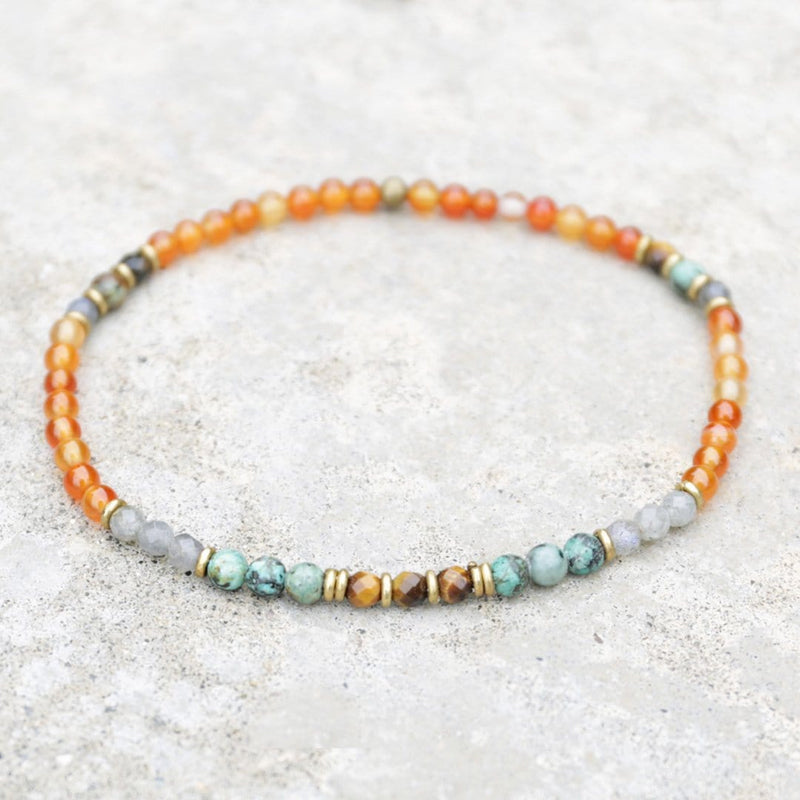 "Anklets - ""Motivation And Change"" Carnelian And African Turquoise Anklet"