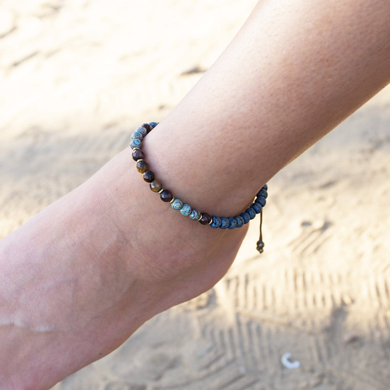 Tigers Eye And Crazy Lace Agate Anklet