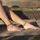 "Anklets - ""Prosperity And Joy"" Tigers Eye And Crazy Lace Agate Anklet"