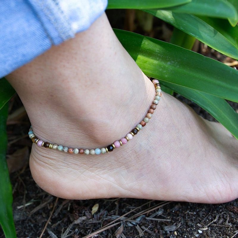 Anklets - Serpentine And Rhodochrosite Anklet