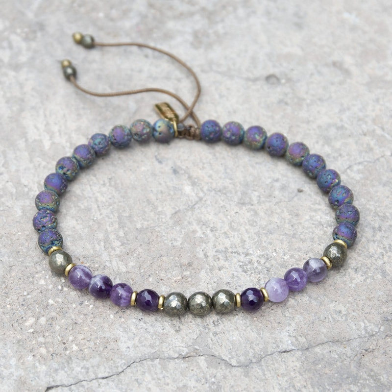 "Anklets - ""Strength And Healing"" Amethyst And Pyrite Adjustable Anklet"