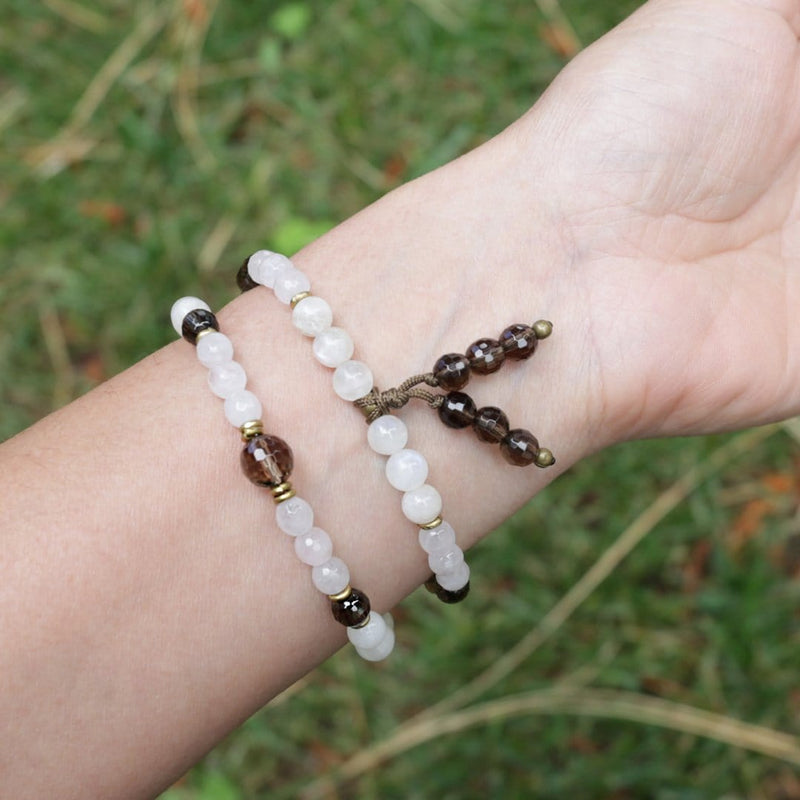 Bracelets - 54 Bead Moonstone, Rose Quartz, Smoky Quartz Mala Bracelet