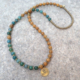 "Bracelets - ""Abundance And Protection"" 54 Bead Mala Bracelet Or Necklace, Jasper And Moss Agate"