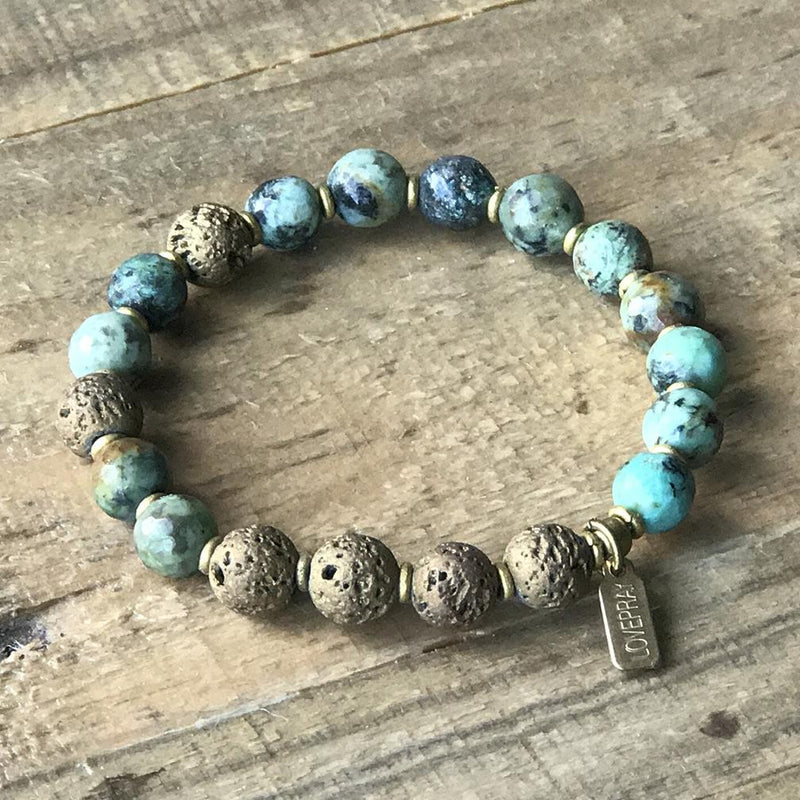 Turquoise Dyed Howlite and Lava Rock Diffuser Bracelet with Optional Essential Oil Sample