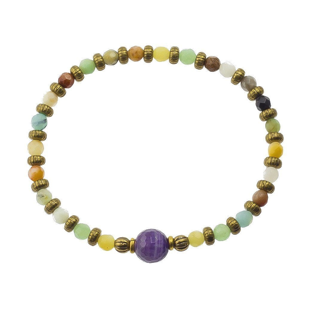 "Bracelets - Amazonite and Amethyst Fine Faceted ""communication and Healing"" Bracelet"