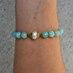 Bracelets - Amazonite Gemstones, African Trade Beads, And Tibetan Capped Pearl Guru Bead Mala Bracelet