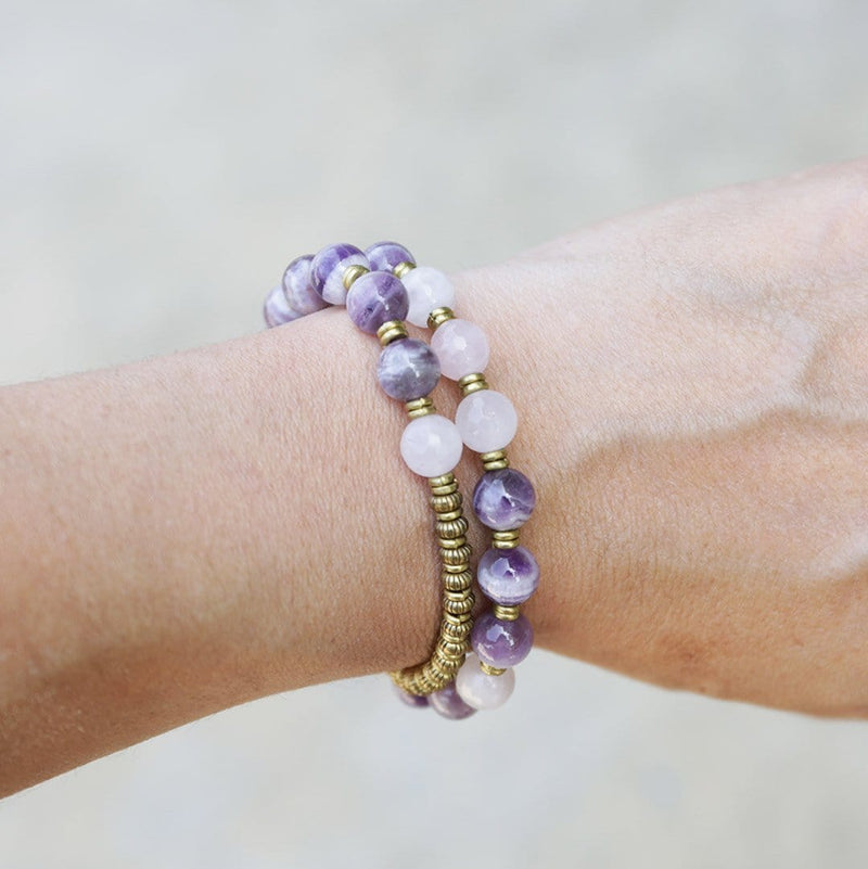 Bracelets - Amethyst And Rose Quartz 27 Bead Wrap Mala Bracelet
