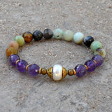 Bracelets - Amethyst, Multitone Amazonite, And Capped Pearl Mala Bracelet