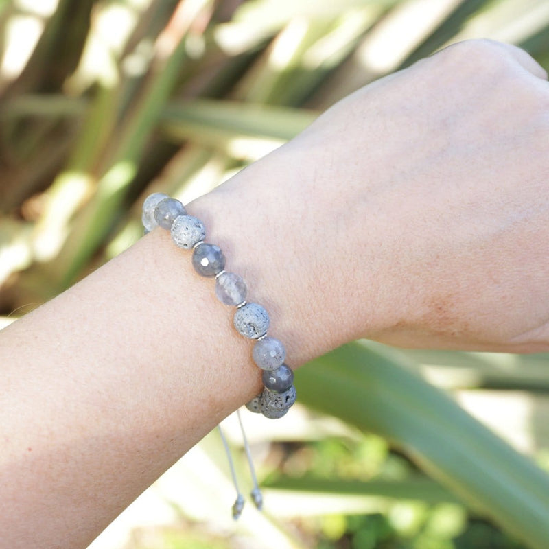 Bracelets - 'Amplification' Cloudy Quartz Essential Oil Diffuser Adjustable Bracelet