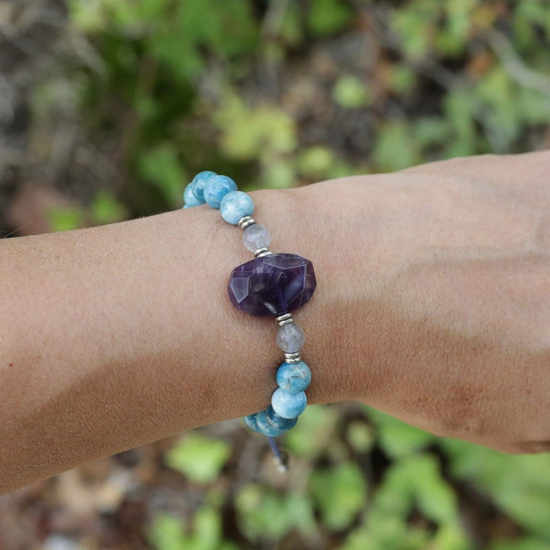 Bracelets - Apatite And Amethyst Adjustable Bracelet