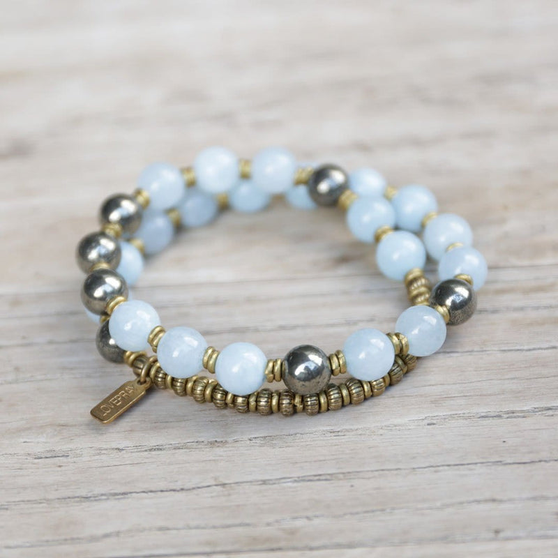 Bracelets - Aquamarine And Pyrite Mala Bracelet For Communication And Confidence