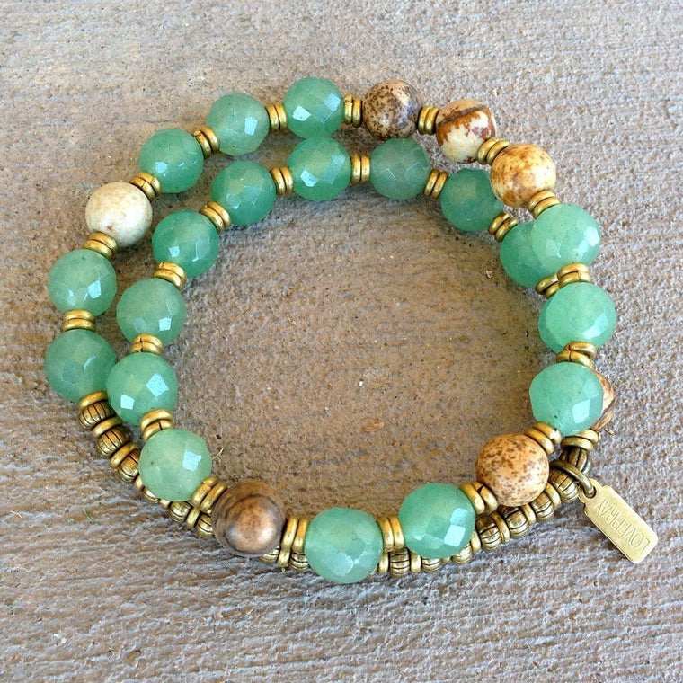 Bracelets - Balance and Protection, Aventurine and Jasper 27 Bead Wrap Mala Bracelet