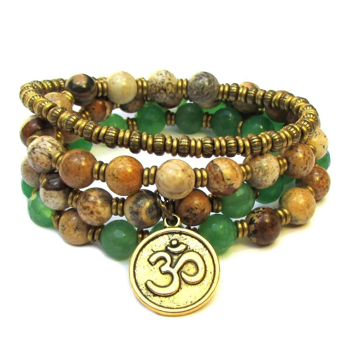 Bracelets - Balance And Protection, Aventurine And Jasper 54 Bead Convertible Wrap Mala Bracelet Or Necklace