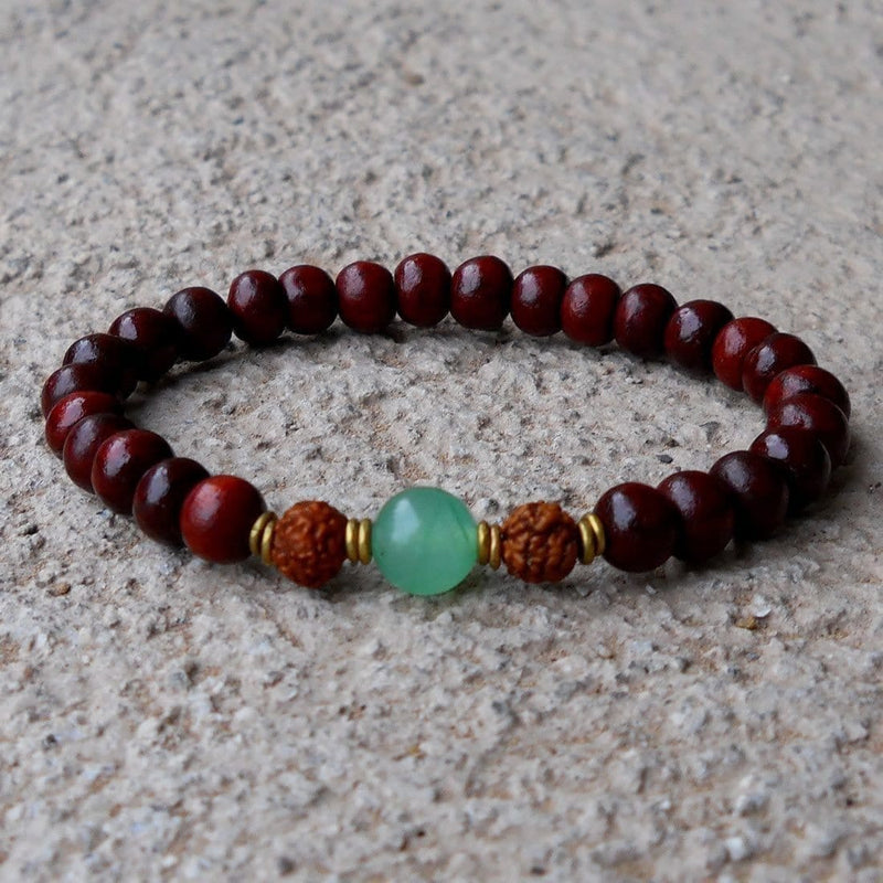 Bracelets - Beauty And Balance, Rosewood Bracelet With Rudraksha And Aventurine Guru Bead