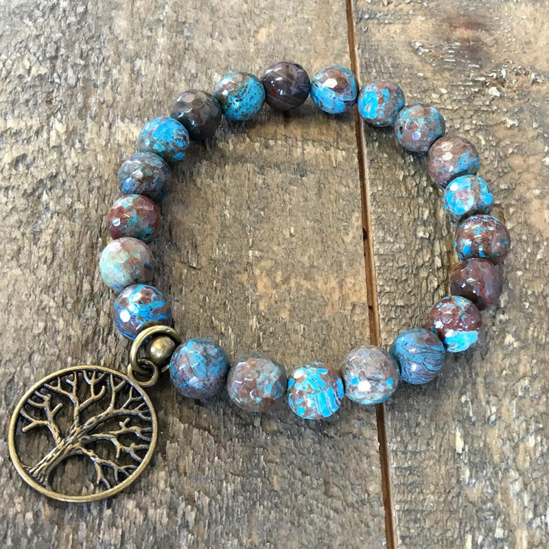 Bracelets - Blue Faceted Crazy Lace Agate Bracelet
