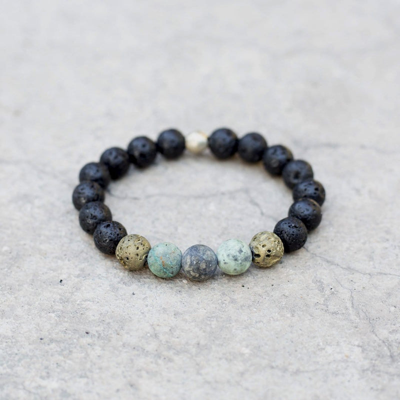 Bracelets - Boy's Lava And African Turquoise Bracelet