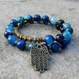 Bracelets - Calm And Communication, Blue Agate 27 Bead Wrap Mala Bracelet