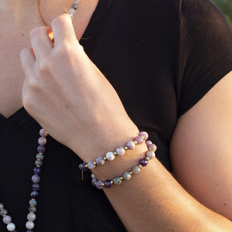 """Calm and Healing"" Lepidolite Amethyst and Labradorite Mala Bracelet"