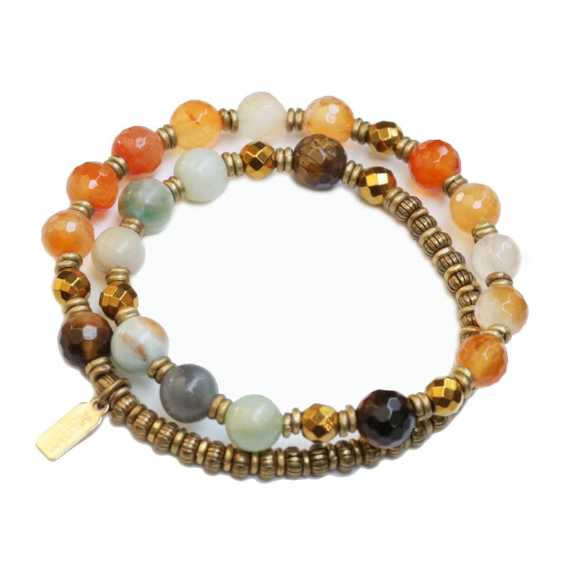 Bracelets - Carnelian, Amazonite, And Tigers Eye Mala Bracelet