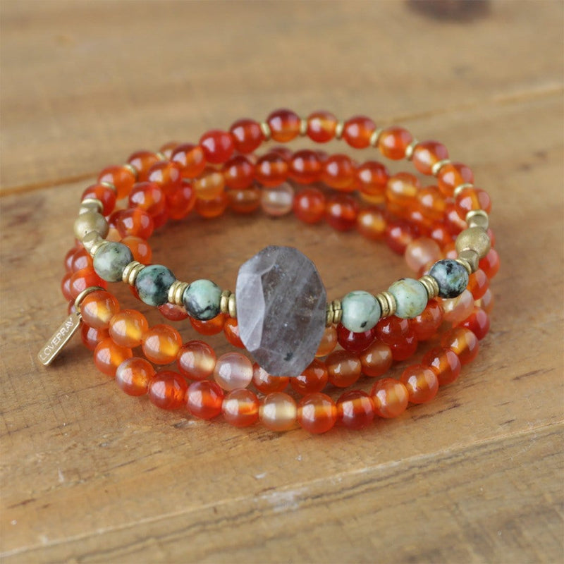Bracelets - Carnelian And African Turquoise Mala Necklace Or Bracelet